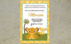 Printable Lion King Baby Shower Invitation Lion by Yolishop03