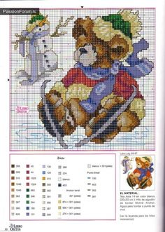 Cross stitch bears for every month of the year