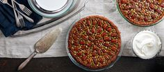 Chocolate Pecan and Pumpkin Seed Pie with Gingersnap Crust- HERO / Photo by Chelsea Kyle, Food Styling by Anna Stockwell