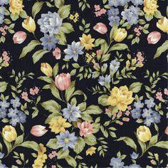 D033 - Floral Armsterdam Preto da Fabricart Tecidos