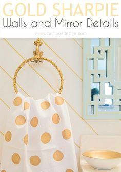 Cheapest Powder Room Makeover ever: Gold Sharpie Walls and Vinyl Polka Dot Ceiling