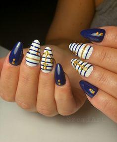 Nails * nail art * blue * white * gold * sailor * anchor