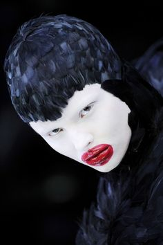 Duck feather dress Alexander McQueen, The Horn of Plenty, A/W 2009-10 Model : Magdalena Frackowiak Image : firstVIEW