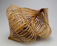 Charissa Brock, Artist, Nautilos,   Black bamboo, waxed linen, sewn bamboo, 17.5 x 17.5 x 17.5