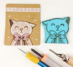geschnitzter Stempel niedliche Katze Katzen Kopf mit Schleife Stempel Scrapbook handgemacht fröhliche Katzen Gesicht Großer Stempel von Nesalis auf Etsy