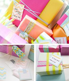 pretty neon wrapping paper with washi tape and yarn