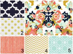crib / Toddler bedding set- Navy Coral Gold Mint  @Becky Lynn how cute are these!?
