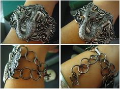 Daughter of the sea-Vintage sterling silver plated brass mermaid art nouveau bracelet/cuff, B91. $56.00, via Etsy.