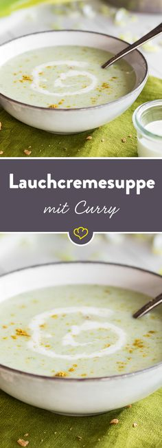 Passend zur kalten Jahreszeit darfst du dich heute über eine cremige Lauchsuppe… In keeping with the cold season, you can look forward to a creamy leek soup today. Curry gives the whole thing a slightly exotic note. Curry, Copycat Soup Recipe, Soup Recipes, Vegetarian Recipes, Paleo Soup, Healthy Soup, Leek Soup, Potato Soup, Asian Soup