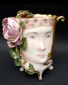 """Rose Cup"" by Irina Zaytceva (hand built porcelain, overglaze painting, 24 gold luster)"