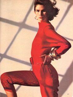 US Vogue November 1985 Reds! Photo Steven Meisel  Models Kim Williams & Lenita Oderfaldt  Hair Kerry Warn  Makeup Andrea Paoletti