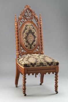 1860-1870 American (New York?) Side chair at the Museum of Fine Arts, Boston - This is an example of Gothic Revival furniture from the late 19th century.