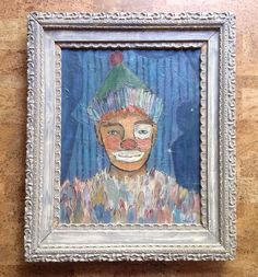 The only clown painting I have EVER liked.  Vintage Abstract Mid-Century Clown Painting, Oil on Canvas 16x20 Signed Fornof #Modernism