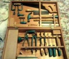 "Vintage ""handy Andy"" Carpenters Tool Chest With Tools"