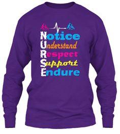 Nurse T Shirts For All Nurses Purple Long Sleeve T-Shirt Front