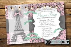 Delicate Paris Themed Baby Shower Invitation, Digital or Printed by socalcrafty on Etsy Parisian Baby Showers, Paris Baby Shower, Paris Party, Paris Theme, Shower Bebe, Girl Shower, Baby Shower Themes, Baby Shower Gifts, Shower Ideas