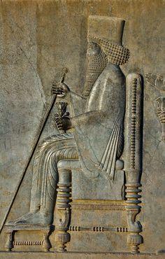 "Persepolis ""Darius I"" the great holding flower"