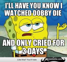 Tough Spongebob: i'll have you know i watched dobby die...|||  My new favorite Spongebob meme.