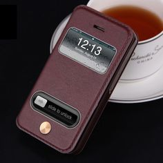 High Quality Hot Flip Ultrathin View Window Leather Case For iPhone 4 4S Case Luxury Phone Cover With Kickstand