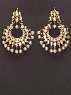 Pretty golden kundan earrings with pearl drops by Indian Myra.
