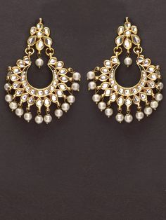 Pretty golden kundan earrings with pearl drops by Indian Myra.