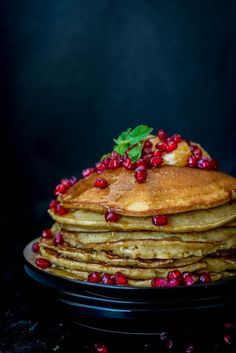 Gingerbread Pancakes with Pomegranates and Oranges