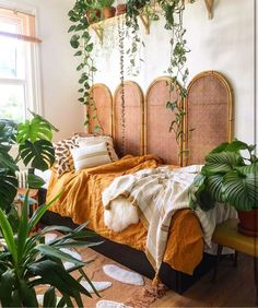 This special bohemian bed highlights a stand-out custom divider plan that gives . Tropical Bedrooms, Tropical Bedroom Decor, Aesthetic Room Decor, Home Bedroom, Bedroom Ideas, Bedroom Setup, Bedroom Shelves, Master Bedroom, My New Room