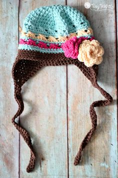 Love the colors. Crochet hat.