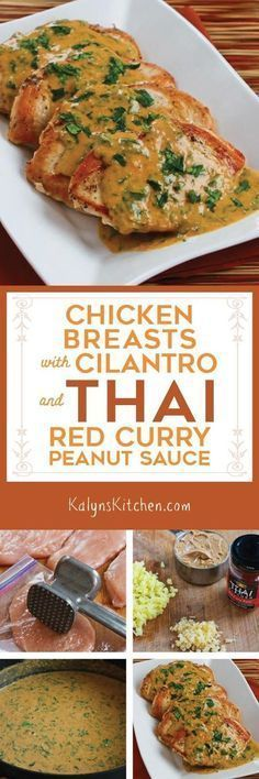 These Chicken Breasts with Cilantro and Red Thai Curry Peanut Sauce are so delicious you'll never imagine the recipe is low-carb, low-glycemic, gluten-free, dairy-free, and South Beach Diet friendly. Serve with roasted broccoli for a great low-carb dinner. [found on http://KalynsKitchen.com]