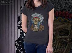Our original design, digital artwork. Find this and other fantasy horror apparel at: https://www.etsy.com/shop/ArtCraftGiftHouse?ref=hdr_shop_menu   Reaper Long sleeve Tee – Skeleton warrior T-shirt. Skeleton indian warchief – T-shirt Indian headdress. Themes: T shirt tee clothing, #Skeleton Indian, Skull headdress, Dead warrior head, girl womens unisex, Artwork horror, fantasy fans gift, honour glory war, Death reaper vintage, Tribal man, Native american, Ancient spirit