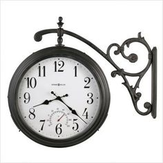 howard miller luis double sided hanging wall clock want this to hang in an interior space between two rooms very cool look