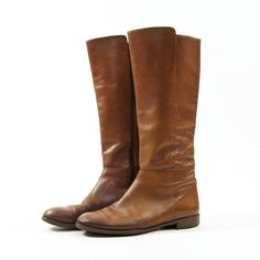 $56 Vintage Zip Up Knee High Riding Boots in Brown Leather