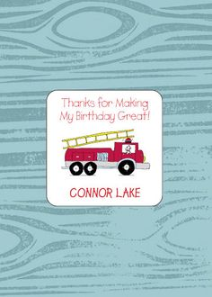 Personalized Fire Truck party favor gift stickers are the perfect way to embellish your childs party favor bags    Every gift label comes 9-Up on a