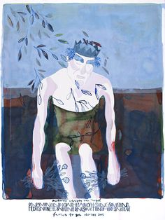 Maurice Christo van Meijel: Father To Son (blad 1 uit Layla & Majnun, 2005) inkt op papier, 77 x 57 cm. (collectie SBK Amsterdam)