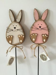 Add some Easter charm to a flower display or outside spot with these cute rabbits on sticks. Mark a hidden Easter Egg or two. Available, as a pair, online now Easter decorations Wooden, Shabby Chic, Rabbit on a Stick Spring Projects, Easter Projects, Spring Crafts, Easter Crafts, Holiday Crafts, Art Projects, Wooden Crafts, Diy Crafts, Cork Crafts