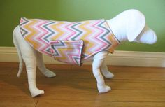 Fleece Dog Coat, Small, Black & White Floral Print with Gold Fleece Lining  www.TheThimbleAndHound.com