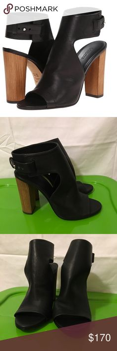 NWT VINCE Black Leather Addie Cut Out Wooden Heels Vince new with tags - Addie heels with leather on the outside and a wooden stacked heel. Size 8 and have been worn only to try on and are super stylish and sold out! Bought at a department store! Does NOT come with a box!! Vince Shoes Ankle Boots & Booties
