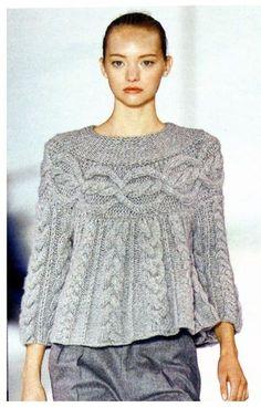 Crochet y dos agujas: suéter con giros (trenzas) - Patrón - Knitting/Punt - Knit Fashion, Sweater Fashion, Knitted Poncho, Knitting Designs, Crochet Clothes, Pulls, Hand Knitting, Knit Crochet, Crochet Needles