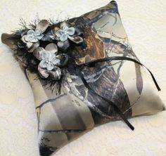 Satin Camo Wedding Camo Pillow with Camo Folded Flowers