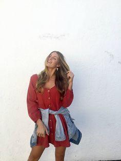 Long sleeve cotton dress - boho style - linen dress