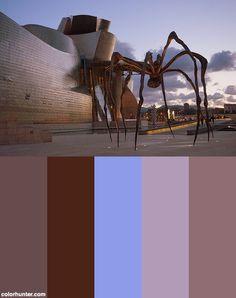 Maman Sculpture And Guggenheim Museum At Dusk, Bilbao Color Scheme from colorhunter.com