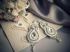 nikuske - Soutache art design by Veronika Ropoviková / SAShE. Wedding Bride, Wedding Ideas, Wedding Earrings, Handmade Design, Wedding Hairstyles, Swarovski, Vintage, Jewellery, Art