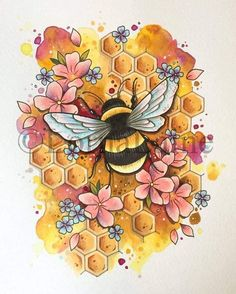 Beautiful and detailed bumble bee art print, with a detailed honeycomb background. Inspired by my love of neo traditional tattoo art. This print is available in three different size options. Please be sure to select the correct size before ordering. Bumble Bee Tattoo, Kunst Tattoos, Body Art Tattoos, Print Tattoos, Tatoos, 12 Tattoos, Tattoo Fonts, Tattoo Quotes, Bee Painting
