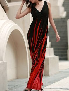 Elegant Hit Color V-Neck High Waist Pleated Maxi Dress For Women