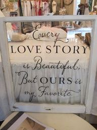 DIY Wedding Screen - old window frame (Canton) + phrase stickers = Voila!