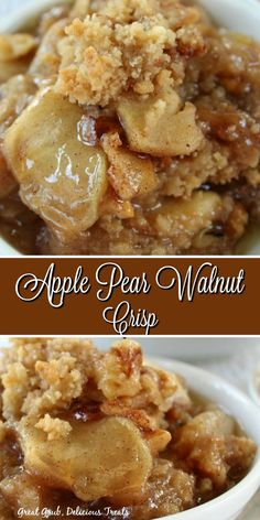 Apple Pear Walnut Crisp is loaded with delicious apples, juicy pears, walnuts and topped with a crunchy topping. Apple Pear Walnut Crisp is loaded with delicious apples, juicy pears, walnuts and topped with a crunchy topping. Pear Dessert Recipes, Apple Crisp Recipes, Fruit Recipes, Desert Recipes, Easy Desserts, Baking Recipes, Delicious Desserts, Recipes With Pears, Apple Pear Crisp