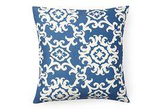 Medallion 16x16 Pillow, Blue/White on OneKingsLane.com