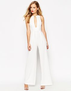 Image 1 of ASOS Jumpsuit in Texture with Metal Bar