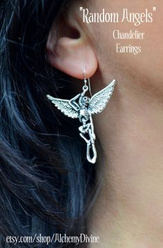 Random Angel Chandelier Earrings Skeleton Wings by #AlchemyDivine, $39.00