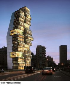 Beirut Residential Building (Beirut, Lebanon) By Accent Design Group Facade Architecture, Beautiful Architecture, Residential Architecture, Contemporary Architecture, Installation Architecture, Chinese Architecture, Unusual Buildings, Amazing Buildings, Photo D'architecture